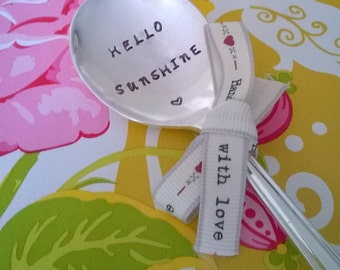 Hello Sunshine -  Hand Stamped Vintage Spoon, Gift, Gift For Friend, Birthday, Summer, Engraved Spoon