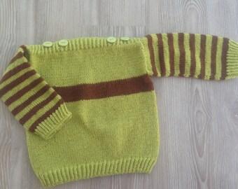 Sweater, Stripe Newborn Sweater, Baby Boy Sweater, Hand Knit Sweater