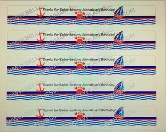 Nautical themed water bottle labels