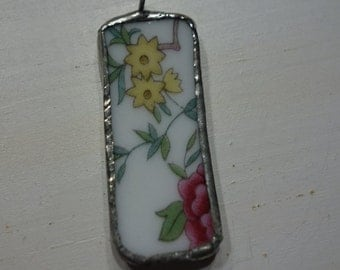 Broken china jewelry,- broken china pendant- vintage china pendant- yellow and pink flower pendant- upcycled pendant