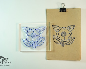Big Flower Rubber Stamp - 3,5 x 3,1 inches (9 x 8 cm) - Big Rubber Stamp