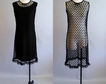 Vintage 1960's Black Lace Sheath Dress