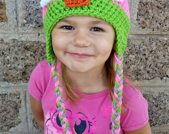 OWL Hat grey, pink and green