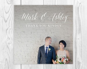 Personalized Photo Wedding Thank You Card, Printable Square Thank You Card