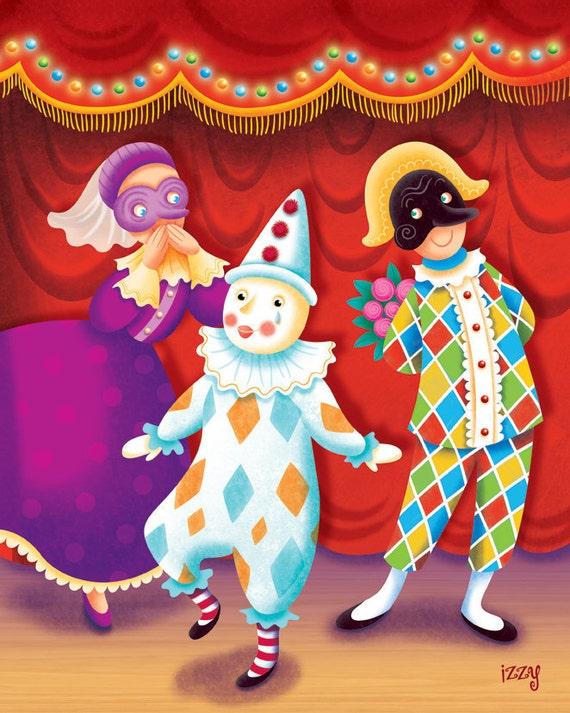 Pierrot Arlequin et Colombine-Commedia Dell\'Arte
