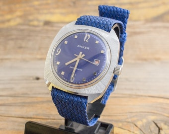 Vintage Anker mens watch with blue dial, vintage mens watch, mechanical mens watch, blue watch