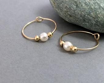 Delicate Gold Pearl Hoops White Crystal Pearl Hoops Single Pearl Hoop Earrings Pearl Earrings Elegant Pearl Earrings Wedding Earrings