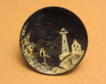 """Beautiful Antique Cupped BUTTON JAPANNED Enamel Tole Seaside Scene with Lighthouse and Boat 1 1/16"""""""