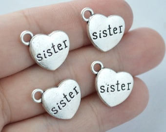 5 Pcs Sister Charms Antique Silver Tone 2 Sided 15x17mm - YD0923