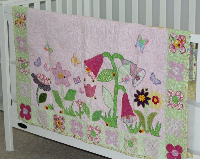 Handmade Baby Quilt, Appliqued Quilt, Floral Quilt, Quilt for baby girl, Garden quilt, Crib size quilt, Pink baby quilt,Butterfly quilt
