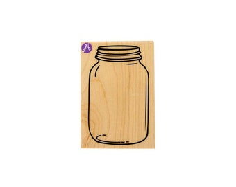 Mason Jar Stamp - LARGE - Rubber Stamp - for crafting / diy /invitations / scrapbooking