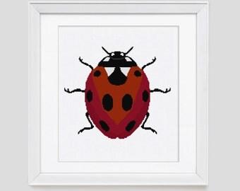 Cross Stitch Pattern instant download PDF, Ladybug cross stitch pattern, Modern Ladybug cross stitch