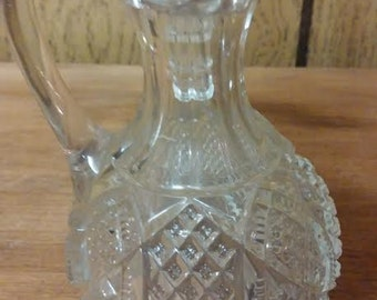 Pressed Glass Blown Glass Cruet Vintage Oil or Vinegar Server