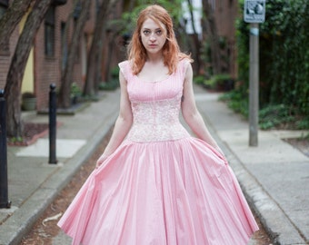 Vintage Pink and ivory Party Dress with pleated gingham and embroidered soutache bodice detail, full skirt and crinoline