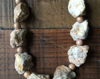 Rock and Marbeled Bead Necklace