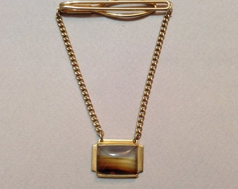 Manleigh Gold Tone Picture Agate Tie Bar