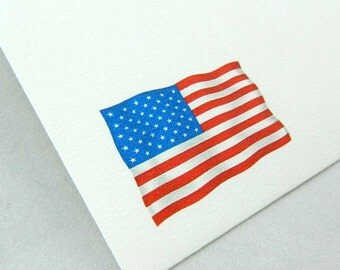 Printed the US - Flag Envelopes Set of 6 | 5 1/4 x 7 1/4 Inch | Natural White