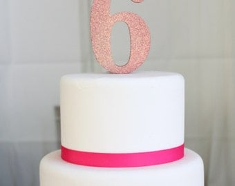 Pink Glittery Mouse 6th Year Cake Topper
