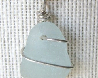 Pretty Seafoam Sea Glass Necklace/Pendant//Sterling Wire Wrapped/Jewelry/Urban Boho/Maine/Sea Swag
