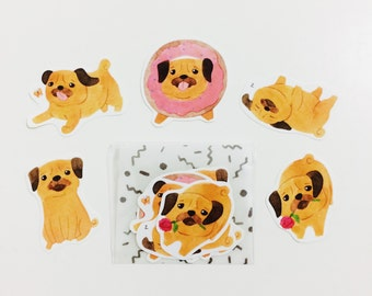 Watercolor Pug Sticker Pack (5 in one pack)