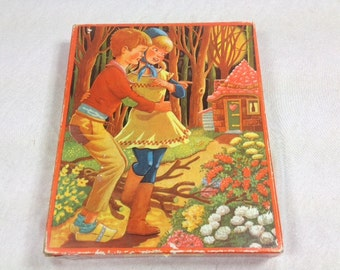 Hansel and Gretel Wooden Jigsaw Puzzle , 1970s Hansel and Gretel Wooden Puzzle, Fairy Tale Story, Fairy Tales Puzzle , Vintage Puzzle