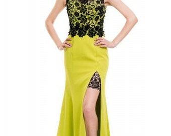 Black Lace Mustard yellow dress