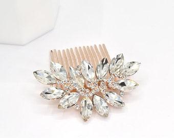 Rose Gold Crystal Wedding Hair Comb Bridal Hair Comb Wedding Headpieces