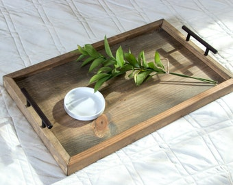 Serving Tray, Wood Serving Tray, Breakfast Tray, Housewarming Gift, Bed Tray Table, Breakfast Bed Tray, Coffee Table Tray, Reclaim Wood Look