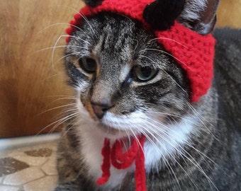 Devil Cat Hat, knit hat for cat