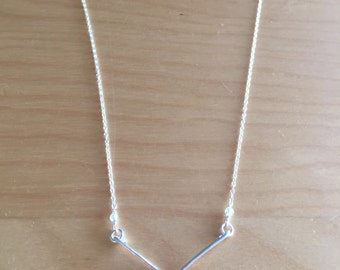 Sterling Silver Necklace with Sterling Silver Chevron Pendant