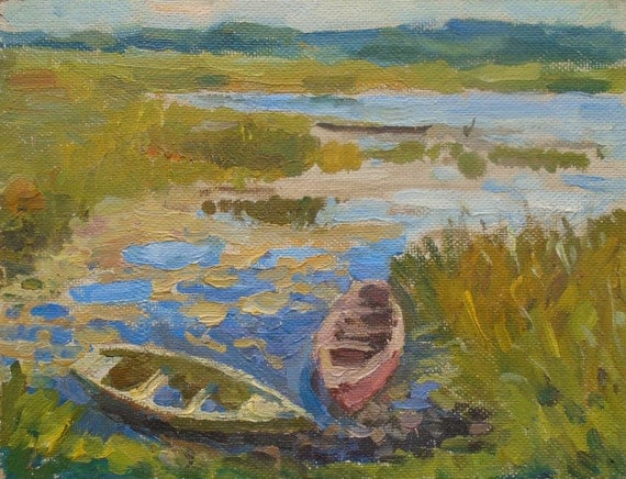 VINTAGE ORIGINAL RIVERSCAPE Original Oil Painting, 1970s Boats painting, Nature landscape, Soviet Ukrainian Fine Art