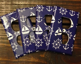 Navy Blue Sail Boat Light Switch And Outlet Covers | Sail Boat Art - Set of 4 - Nautical Nursery - Nautical Decor - Sailboat Decor - Print