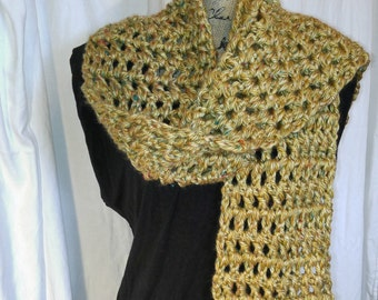 Accessories, crochet scarf, tweed gold scarf, scarf