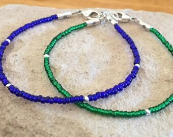 Green seed bead bracelet, blue seed bead bracelet, sterling silver bracelet, boho bracelet, small bracelet, single strand bracelet
