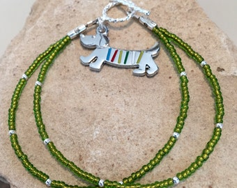 Green seed bead double strand bracelet, sterling silver bracelet, dog charm, bracelet for dog lover, animal lover bracelet, gift for her