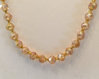 Gold Aurora Borealis Swarovski Crystal And Rhinestone Beaded Gold Tone Necklace