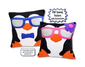 Penguin Pillow PDF Pattern, Sewing Pattern