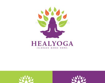 Pilates Logo Design Yoga Logo Design Yoga Studio Logo Health Logo Organic Logo Green Leaf Logo