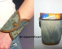 Woman wrist wallet, bracelet wallet, Secret bracelet, Bracelet purse, Denim Wrist purse, jewelry, Denim Wrist band ,Denim cuff, money cuff