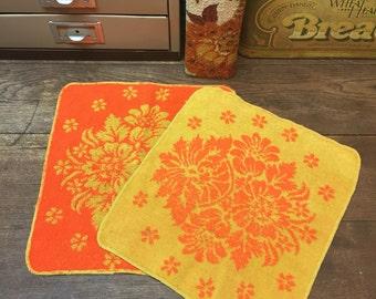 Vintage Washcloths Set of 2 Orange Goldenrod Awesome FREE SHIPPING!