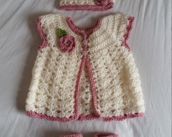 Custom Lacy Rose Cardigan, Hat and Bootees // Baby Girl