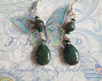 Aventurine  wire wrapped earrings