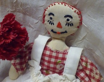 "Vintage Folk Art RAGGEDY ANN MINIATURE Doll, 8"""