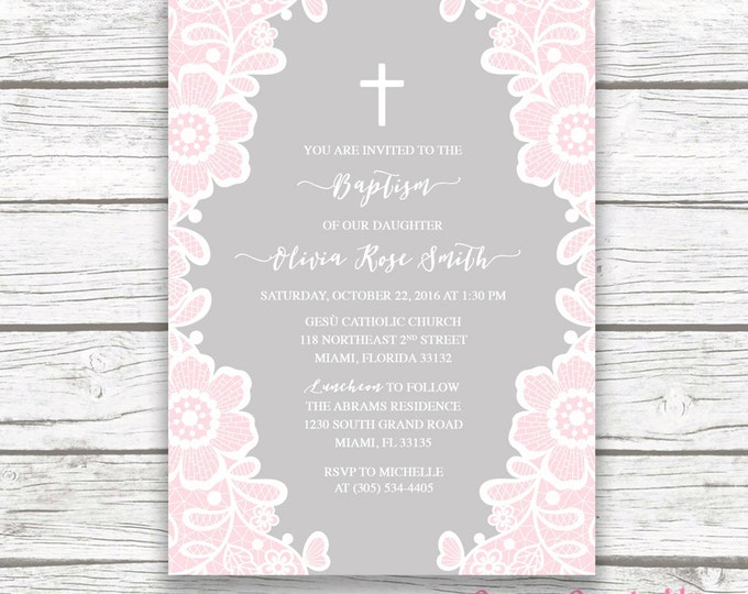 Pink White Lace Floral Baptism Christening Invitation, Gray Girl First Communion Boho Vintage Cross Invite, Printed Printable Invitation