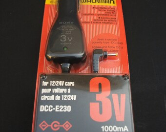 Sony DCC-E320 Car Power Adapter For Cassette CD Walkman 3V 1000mA Made in Japan