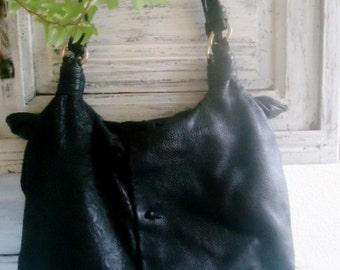 Large Messenger bag , Black leather  Bag ,Leather shoulderdbag , French femininebag