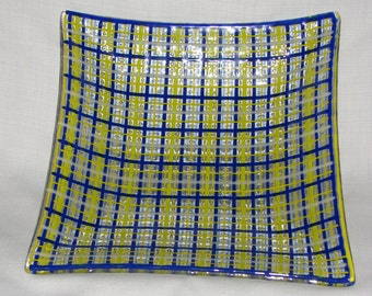 Large Square Serving Bowl, Blue/Lime/White Woven