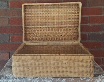 Vintage Large Woven Suitcase  - Basket Storage Box with Hinged Lid