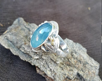 Natural Aquamarine Ring - Silver&Handmade