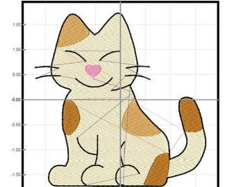 Sitting Kitten Machine Embroidery Design File Digital Download